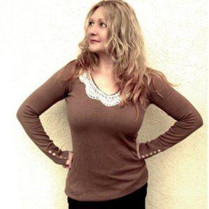 Refashioned Vintage Button Cuffed Sweater (M/L)